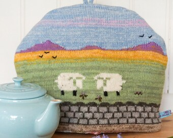Knitted Tea Cosy with countryside design