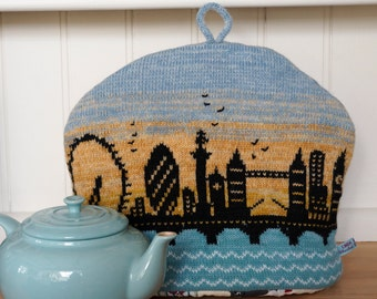 Knitted Tea Cosy with London sky line design