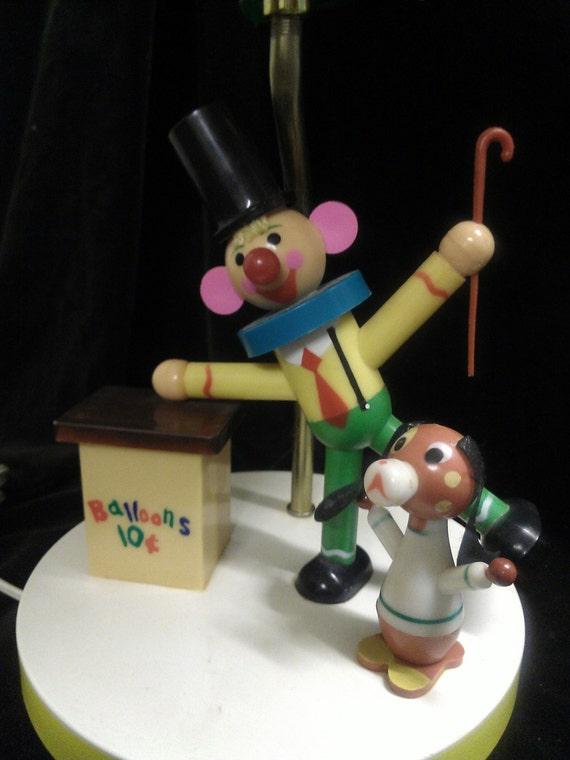 Vintage Children Clown With Dog Balloon Lamp
