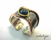 Handmade adjustable Ring of sterling silver, copper, brass and semiprecious stone inspired from ancient Greece