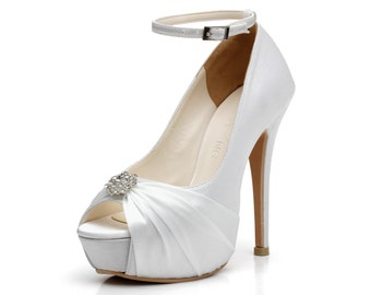 Giselle, White Satin Platform Wedding Heel with Rhinestone Embelishment, White Bridal Platform Heel, Bridal Shoes