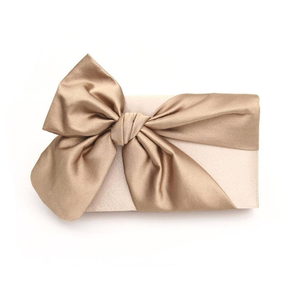 Knotted Champagne Gold Clutch Bag