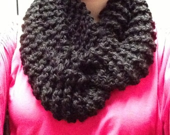 Black Knit Infinity Cowl Scarf