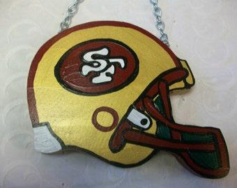 Handmade Wood San Francisco 49ers Football Helmet Wall Hanging