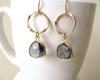 Gold Plated Sparkle Charcoal Gray Hoop Drop Earrings