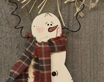 Wooden Snowman Painted Snowman with Scarf