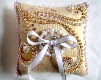 Bridal Wedding Ring Pillow Bearer Light Golden wt Rhinestones Beige Silver Pearl Beads
