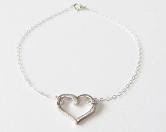 Sterling Silver Heart Bracelet, Sterling Silver Bracelet, Gift for her