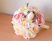 Silk Wedding Bouquet Peonies Roses Ranunculus Hydrangeas Lisianthus Blush Pink Ivory Cream Rustic Shabby Chic Vintage Bridal Bouquet