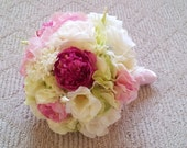 Silk Wedding Bouquet Peonies Hydrangeas Roses Cream White Pink and Green Wedding Romantic Rustic Shabby Chic Vintage Wedding Bouquet