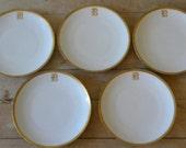 vintage German gilt-rimmed mongrammed side plates