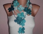 Crochet lariat scarf/crochet flowered scarf/flowered necklace
