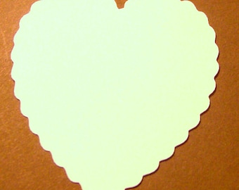 50 white cardstock scalloped heart shaped die cuts 2 inches