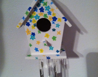 Hand-painted miniature birdhouse wind-chime