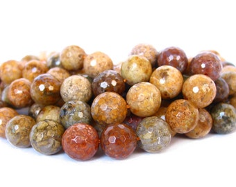 "15"" 6mm / 8mm / 10mm Snakeskin Agate FACETED round Beads polished Gemstone - brown yellow multicolor - full strand - PICK SIZE"