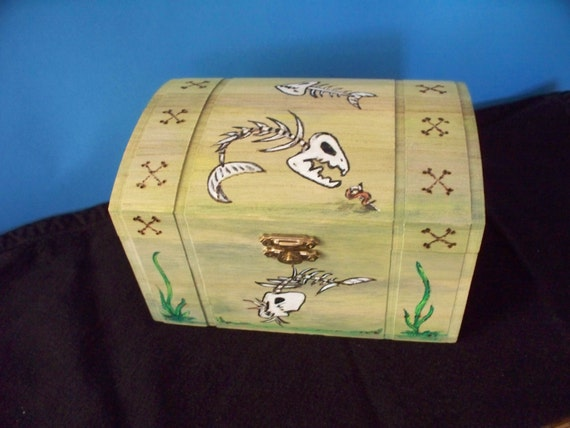 Wooden Chest Trinket Box Skeleton Fish Wood Burned And Hand Painted