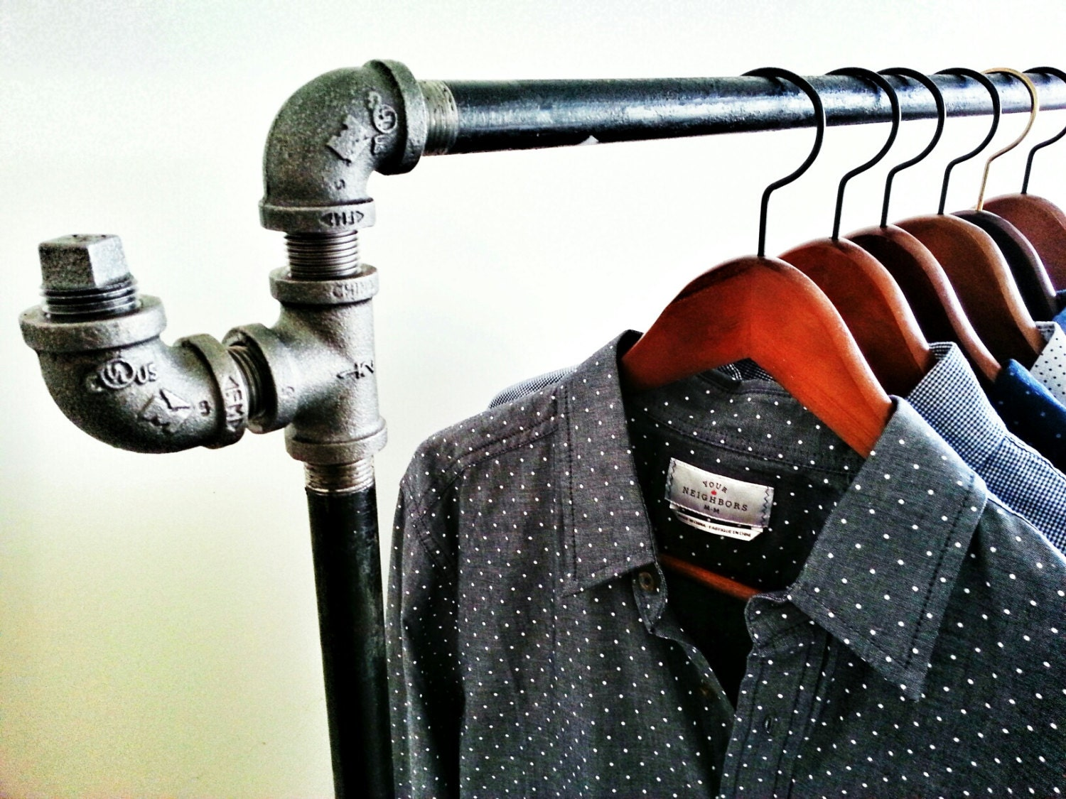 Galvanized Pipe Clothes Rack Industrial Pipe Clothing Rack