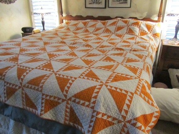 price reduced antique quilt large orange and by 87977