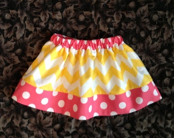 Chevron and Dots Skirt, Yellow & Hot Pink (baby, toddler, girls, infant, child)