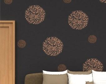DIY flower wall decor, Reusable wall stencil design, FS - 07