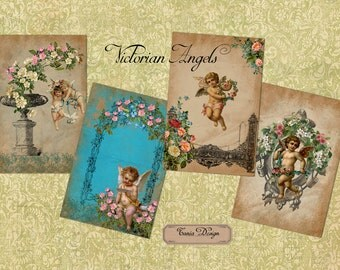 Victorian Angels on Old Paper - Digital Collage Sheet - set of 2 sheet -Instant  - Download Paper Crafts - Greeting card -