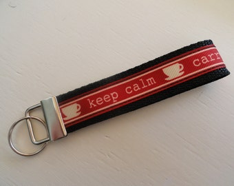 Keep Calm Carry On Key Fob Wristlet