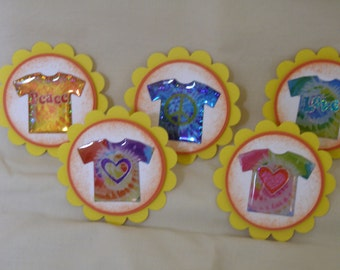 12 Hippie T-shirts Cupcake Toppers