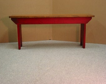 Red Bench / Cabin bench / Entryway Bench / Five Board Bench