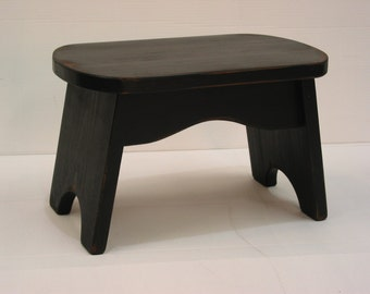 Black Step Stool / Wooden Stool / Kids Bench / Foot Stool / Pine Stool