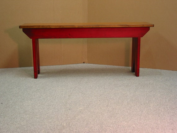 Red Foyer Bench : Red bench cabin entryway by