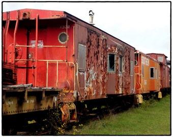 Old Train Photography- 8 x 10 Fine Art Rusty Train Print- Dixie Railroad Photo-Home Decor-Rusted Red Train-Black and White Old Train Print