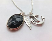 Anchor and Feather Charm Necklace