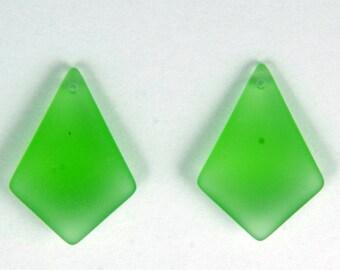2pcs (28X20mm) Peridot Green Small Sea Glass Style Pendants - 2 Pieces