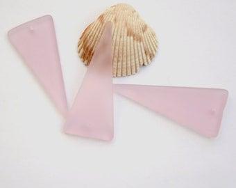 1PC (49X21mm) LG Blossom Pink Shield Cultured Sea Glass Beach Glass Pendant Beads - 1 Piece
