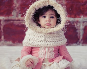 SCARF CROCHET PATTERN Hoodie Easy Cowl Cape Fur Toddler & Girls The Belle Cowl Crochet Pattern the Danica Collection 2 sizes, 2-10 years