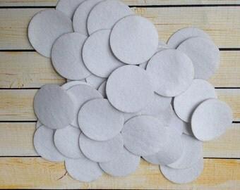 25, 50, or 100 4cm white adhesive felt circles