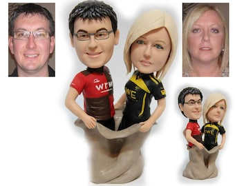 Personalised wedding cake topper - a bag of couple (Free shipping)