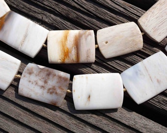 Petrified Palm wood / Fossilized Palm wood rectangular beads/length 34-39mm (ETB00095)