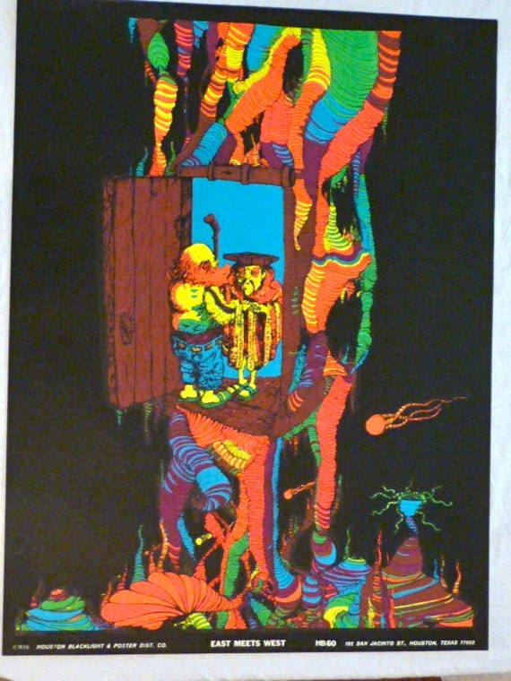 Vintage 1970 Houston BlackLight Poster Co hB60 EAST by ...