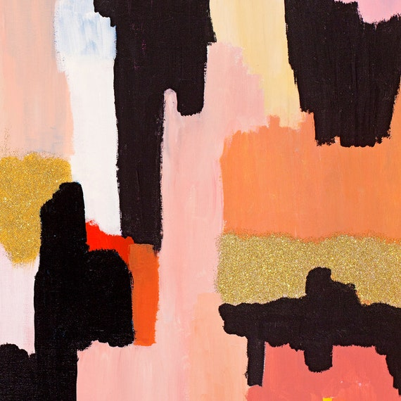 6x6 Abstract Giclee Print l Coral Gold Focus 2 from Original Abstract Painting