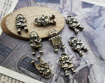 30pcs 10x17mm Antique Bronze Robot Charms Pendants Jewelry Findings H25849