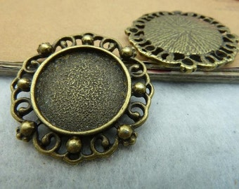 10pcs 18mm Antique Bronze Round Bezel Cup Cabochon Mountings Pendant Trays Jewelry Findings Wholsale