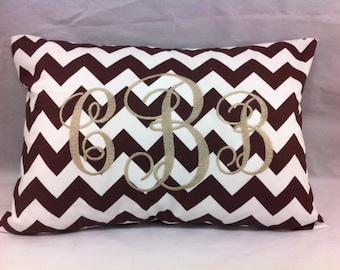 Monogram pillow with chevron print, nursery baby gift, throw pillow decor