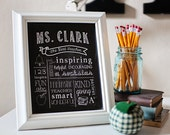 "Teacher Gift - ""The Best Teacher"" Chalkboard Style Printable Digital File 8x10 JPG File"