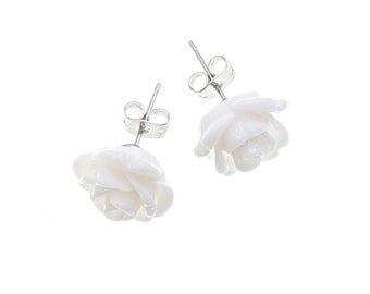 Rose Earrings Ivory