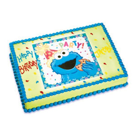 Happy Birthday Cookie Monster Edible Image Cake By