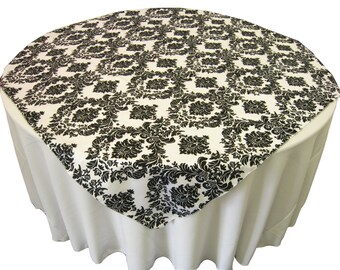 Aruba Flocking Damask Taffeta Overlay Tablecloth 58X58. Made in USA.