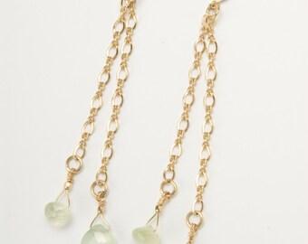 Light Green Prehinite Dangling Earrings