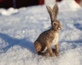 Needle felted Animal.Hare, Rabbit or Bunny.  Felted soft sculpture.Ready to ship.
