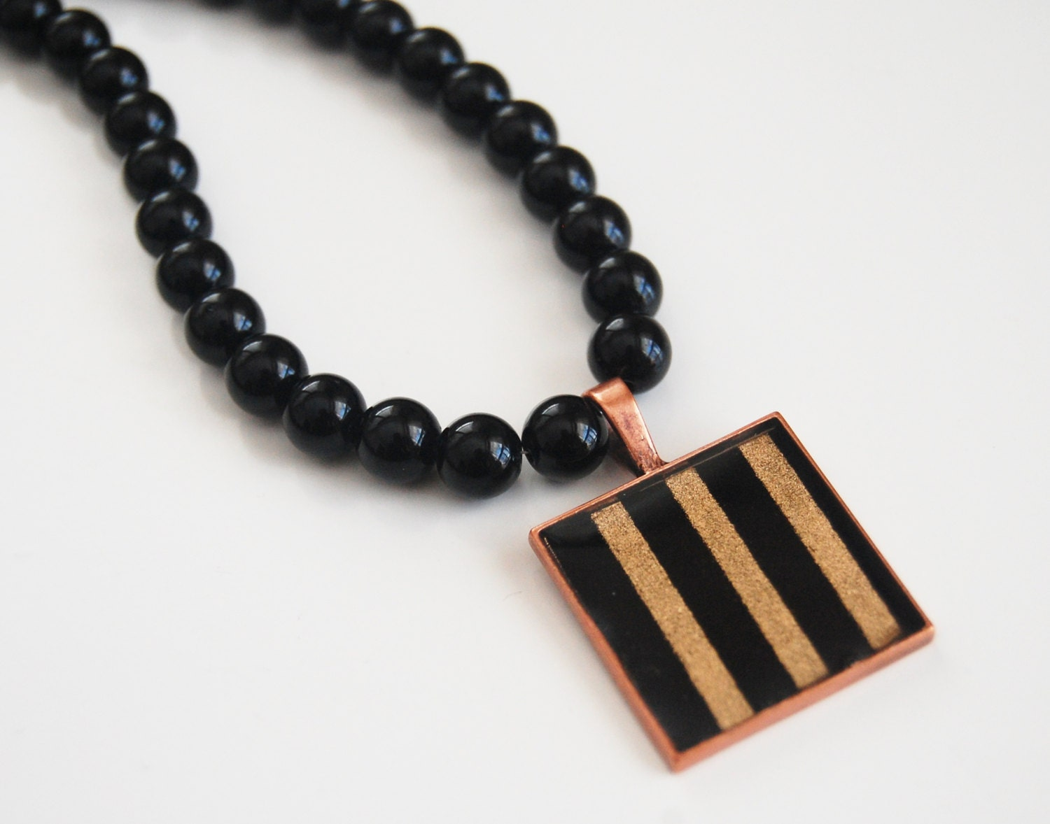 s black onyx necklace resin pendant by